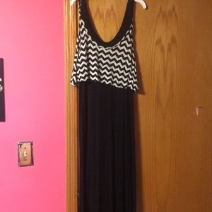 Black maxi dress with black/ chevron top